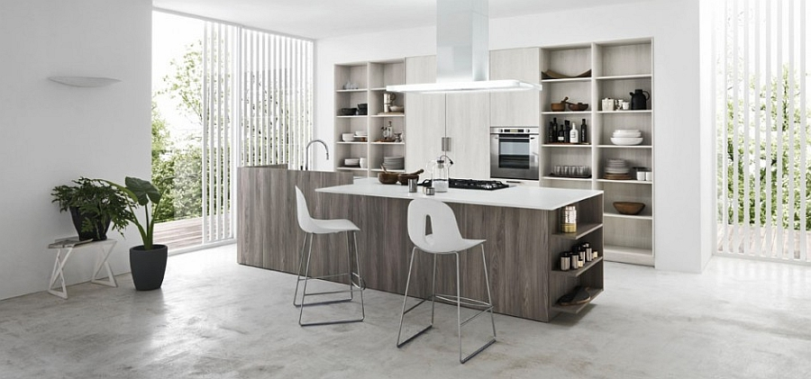 Beautiful kitchen island brings additional storage and display options