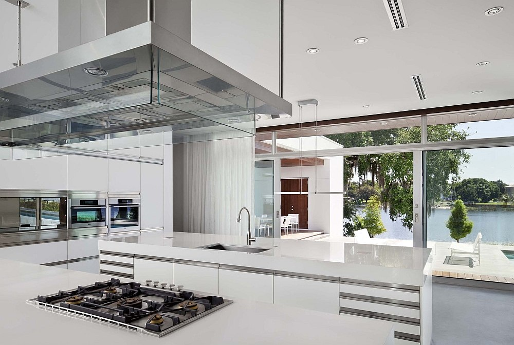 Beautiful lake view from the kitchen of the posh Florida home