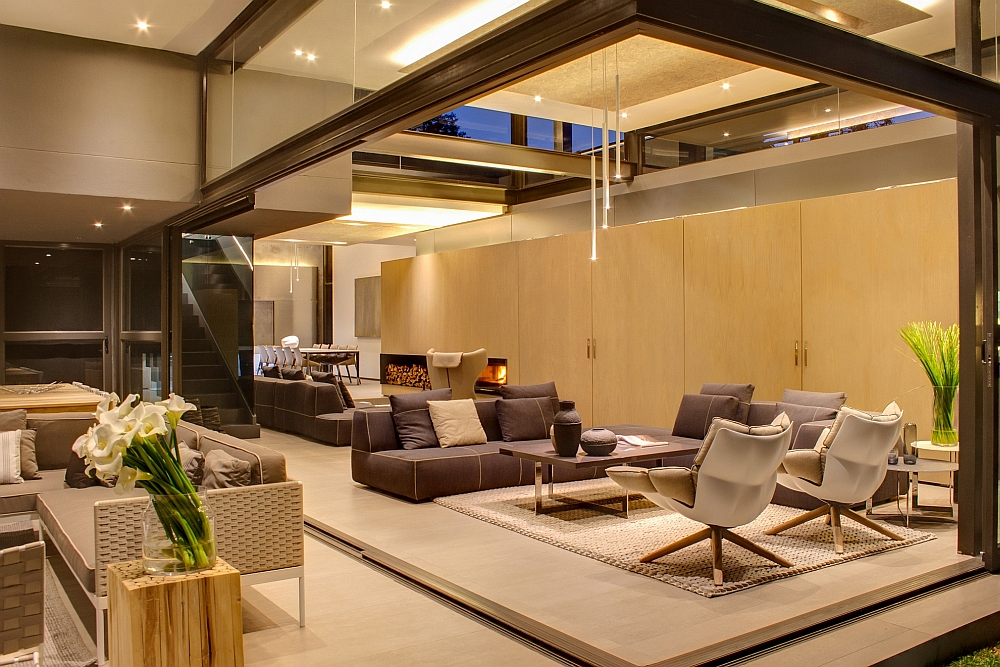 Beautiful lighting gives the living area a warm, cozy glow
