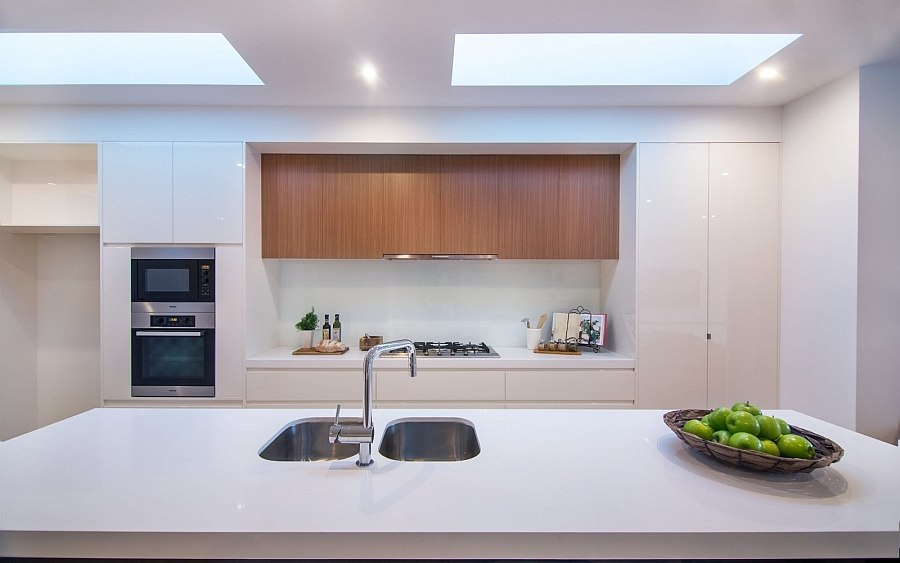 Beautiful modern kitchen in white with plenty of natural ventilation