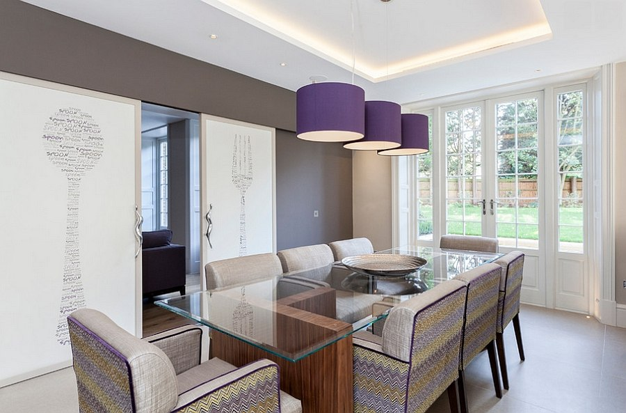 Beautiful purple pendants add color to the room without altering its relaxed ambiance [Photography: Chris Snook]