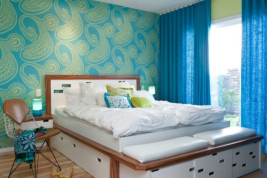 ... Beautiful Wallpaper Adds Midcentury Flavor To The Bedroom [Design:  Kropat Interior Design]