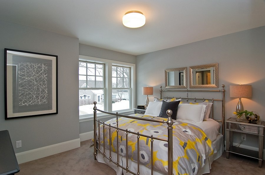 View In Gallery Bedding With Pops Of Yellow Is All You Need Design Great Neighborhood Homes