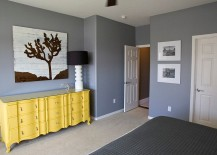 Bedroom in granite gray along with a delightful yellow dresser