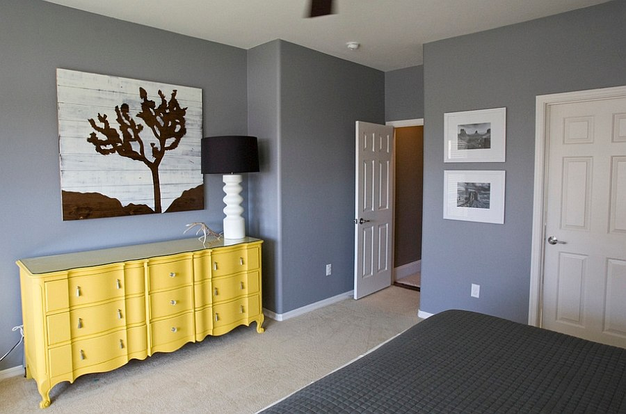 Bedroom in granite gray along with a delightful yellow dresser [Photography: Michelle Rasmussen]