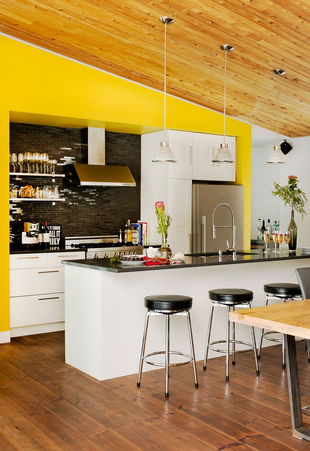 Black and white kitchen with a pop of yellow