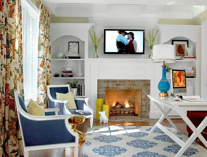 Blue accents give the home office a fresh, modern look [Design: Hip & Gable Interiors]