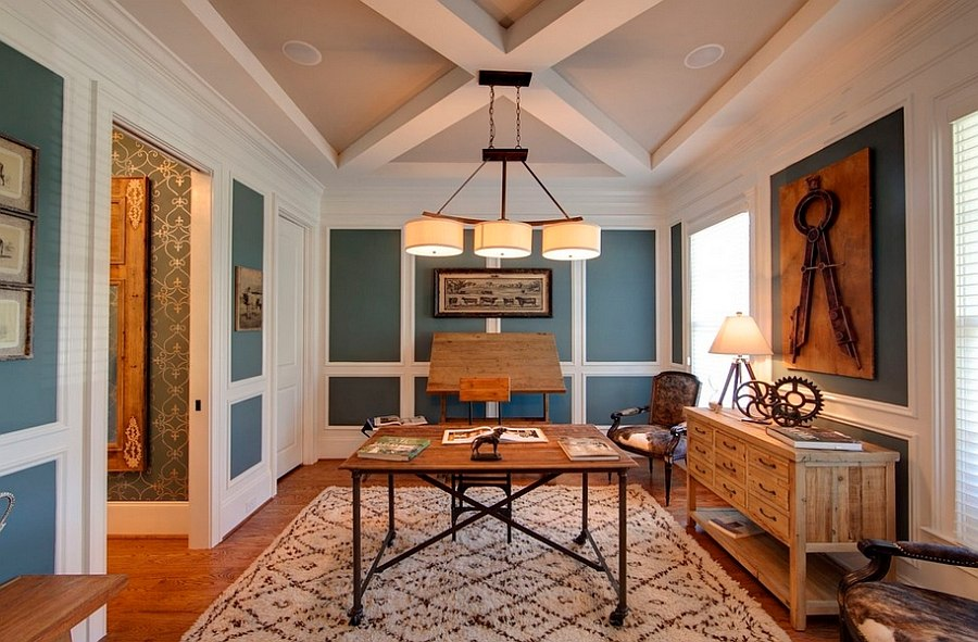 Blue and white home office has a cheerful, airy ambiance [Design: Kerri Robusto Interiors]