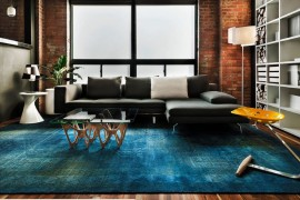 Blue overdyed rug in a modern living room