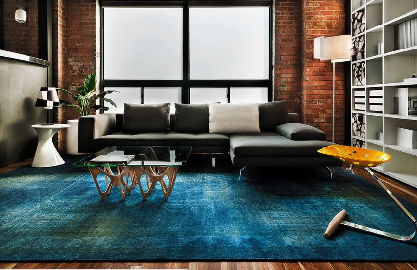 View In Gallery Blue Overdyed Rug In A Modern Living Room