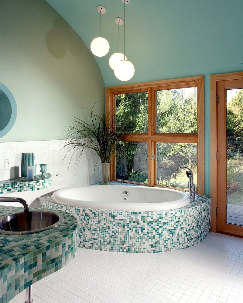 Bluish-green gives a serene vibe to the spa-styled master bath [Design: Timothyj kitchen & bath]