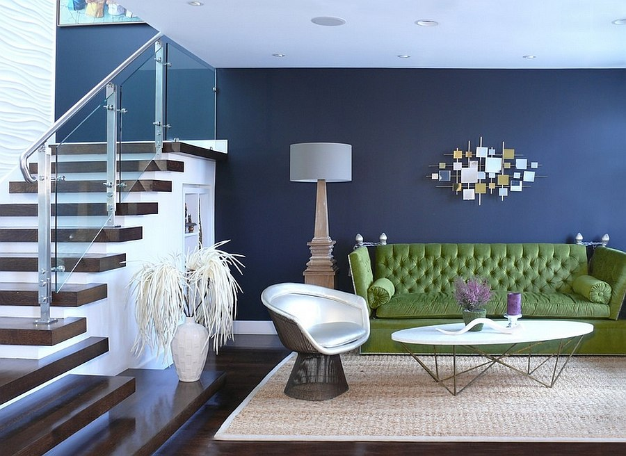 Green Sofa Along With The Timeless Platner Armchair In The Living Room