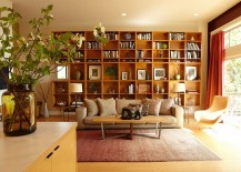 Bookshelf blends in with the Midcentury style of the room