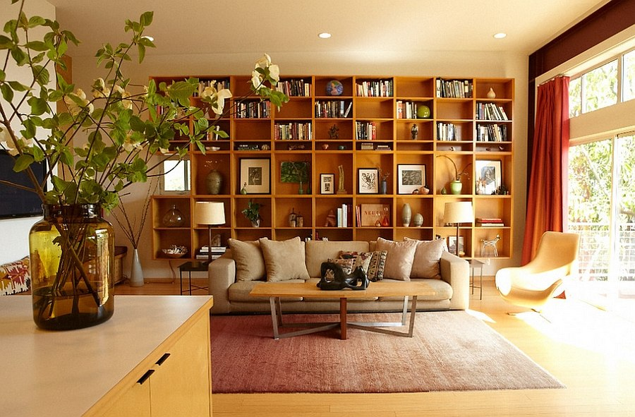 Bookshelf Blends In With The Midcentury Style Of Room Design Platform Home Staging