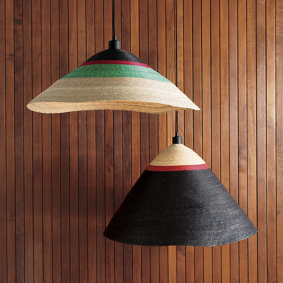 Braided palm pendant lights