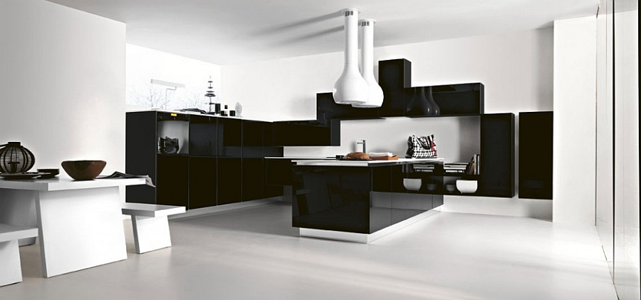Brilliant contemporary take on the classic black and white kitchen