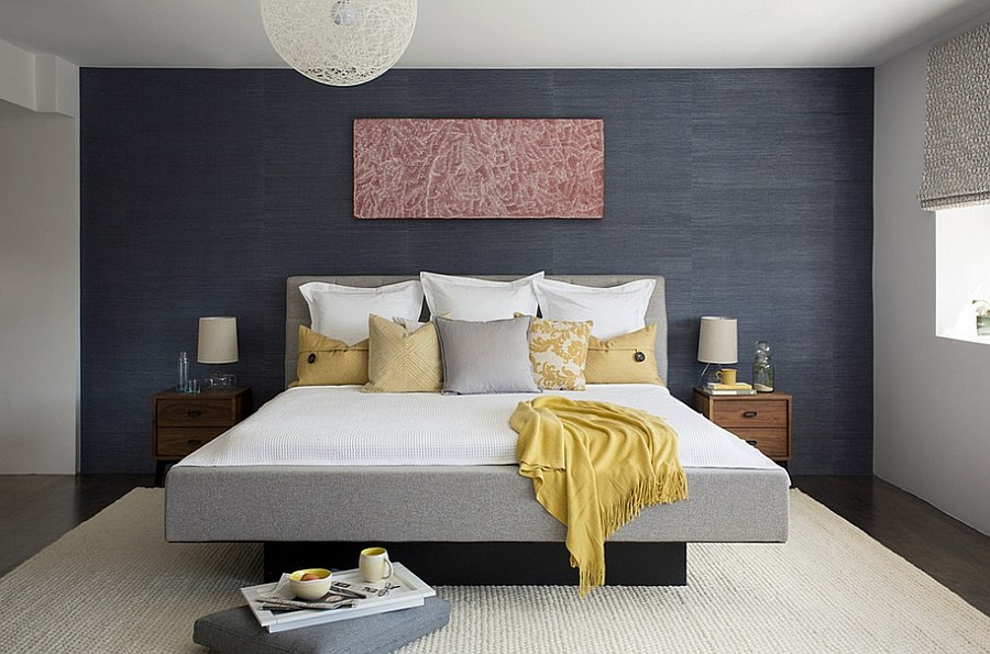 Bring textural contrast to the bedroom with grasscloth wallcovering   Design  ZeroEnergy Design. Cheerful Sophistication  25 Elegant Gray and Yellow Bedrooms