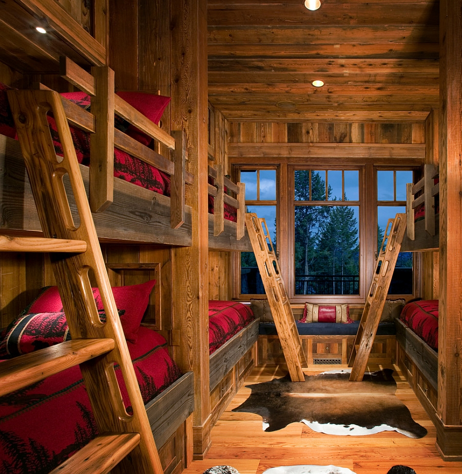 Bring the mountain cabin look home with a rustic kids' bedroom [Design: Montana Creative architecture + design]