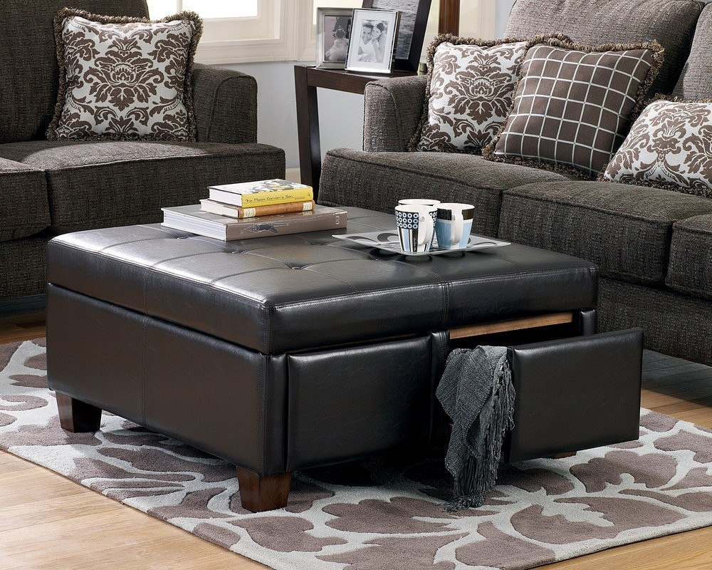 View In Gallery Brown Ottoman With Storage By Signature Design. This  Coasteru0027s Useful Ottoman/coffee Table ...