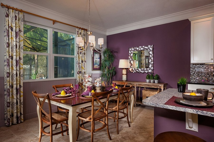 How to fashion a sumptuous dining room using majestic purple for Tropical dining room ideas
