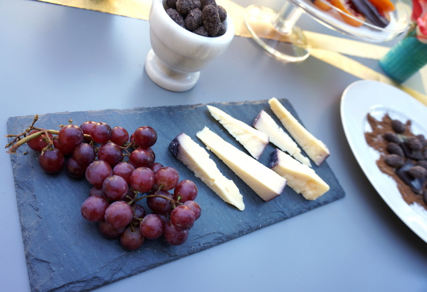 Cheese plate and chocolate dessert buffet