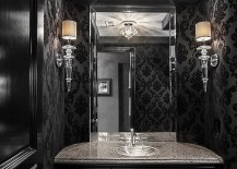 Chic and dramatic contemporary powder room in black