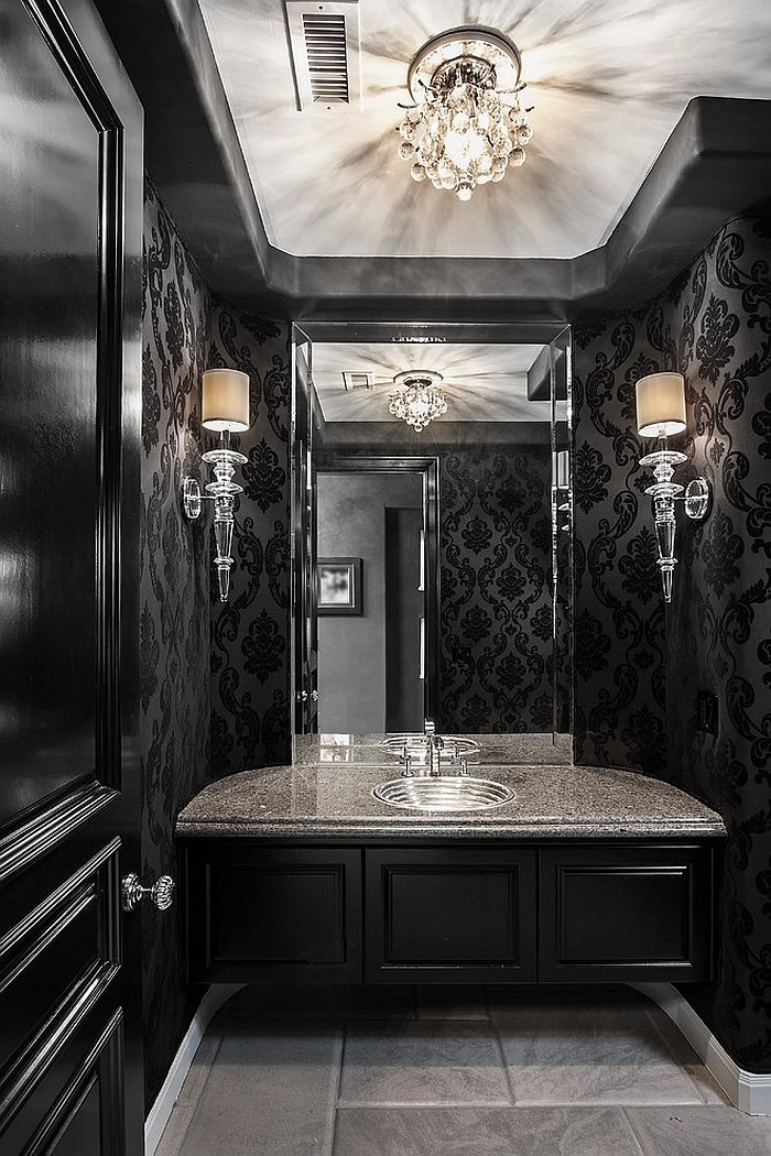 Chic and dramatic contemporary powder room in black [Design: Orange Coast Interior Design]