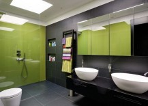 Classy contemporary bath in black and lime green 217x155 20 Refreshing Bathrooms with a Splash of Green