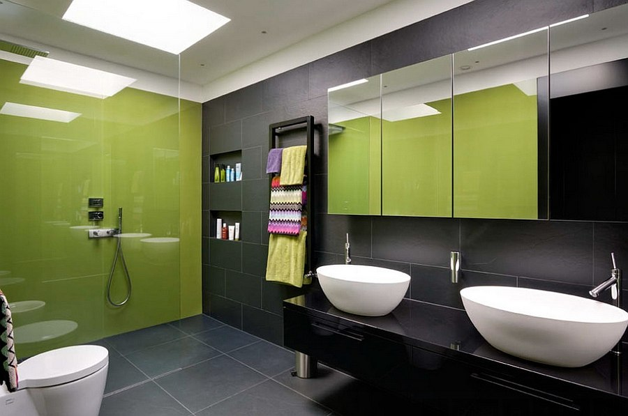 Classy contemporary bath in black and lime green [Design: Stephen Fletcher Architects]