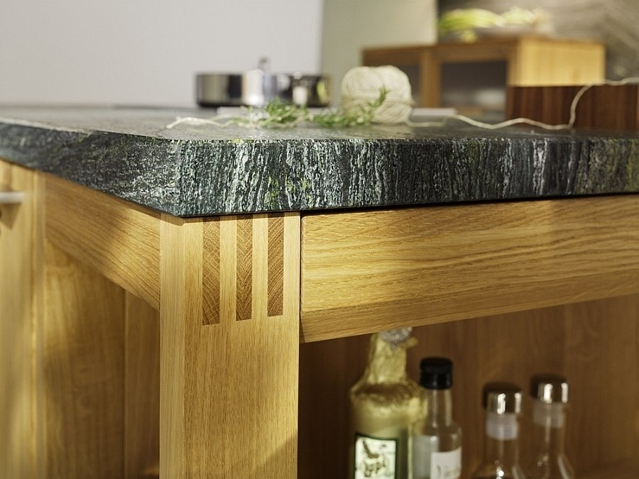 Closer look at the kitchen island in wood and stone
