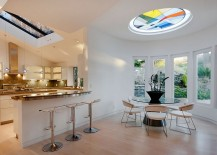 Colorful circular skylight for the creative contemporary dining room