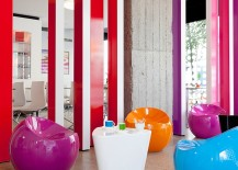 Colorful seating add to the vibrant ambiance inside the hotel
