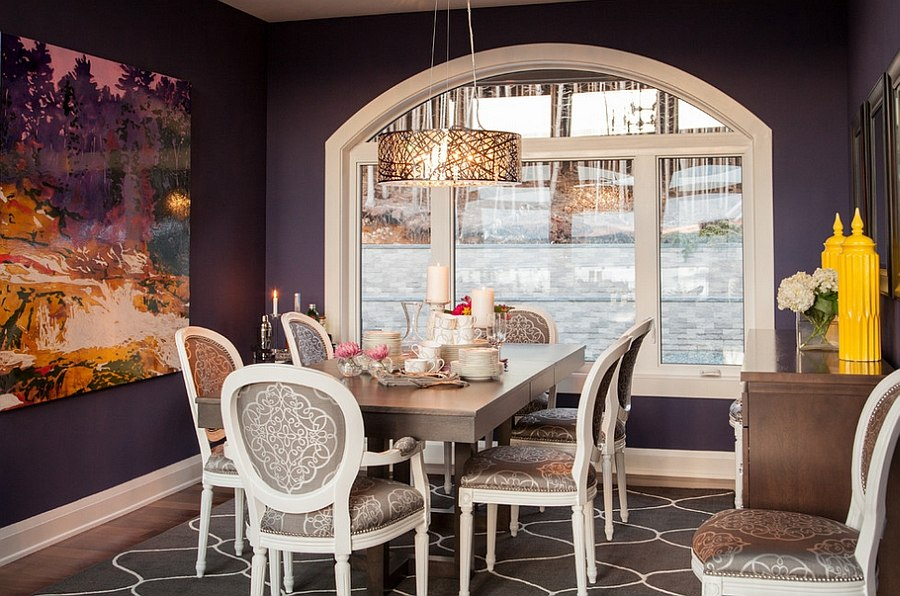 Combine classic and modern touches in the purple dining room