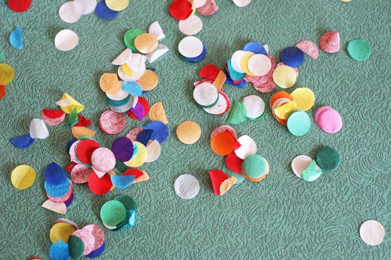 Confetti adds a festive touch