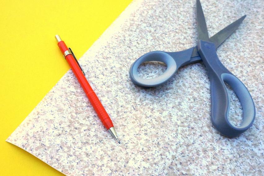 Contact paper, scissors and a pencil-001