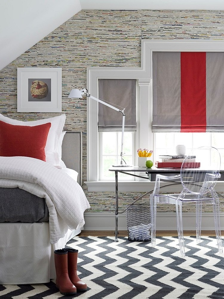 Polished passion 19 dashing bedrooms in red and gray for Grey bedroom window treatments