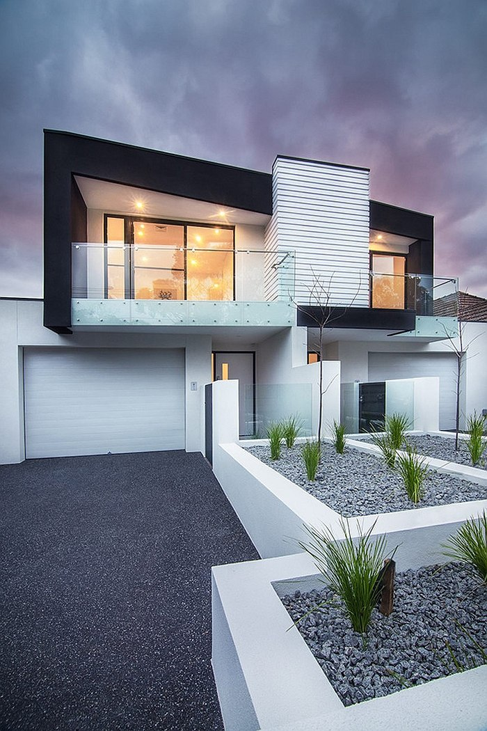 Contemporary exterior of the multi townhouse units in Melbourne Brighton Duplex: Sparkling Townhouses with Breezy Modern Elegance
