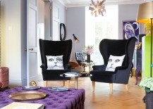 Contemporary wingback chairs and imaginative throw pillows in the living room 217x155 Victorian Home in London Transformed into an Indulgent Bachelor Pad