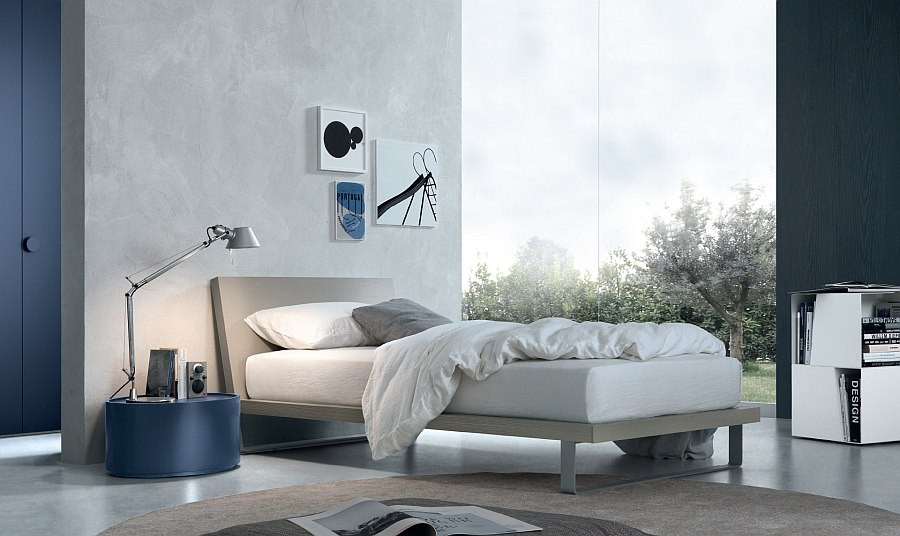 Cool circular nightstand in blue adds playful elegance to the room Trendy Storage Units Bring Chic Adaptability to the Modern Bedroom