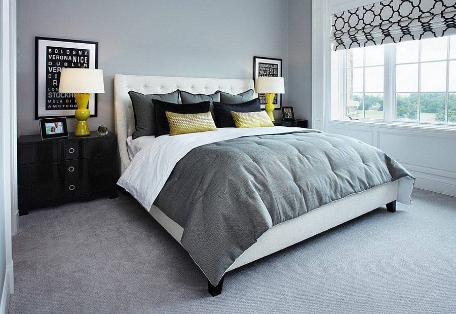 Cool gray offers the perfect backdrop for bright yellow additions [Design: IBB Design Fine Furnishings]