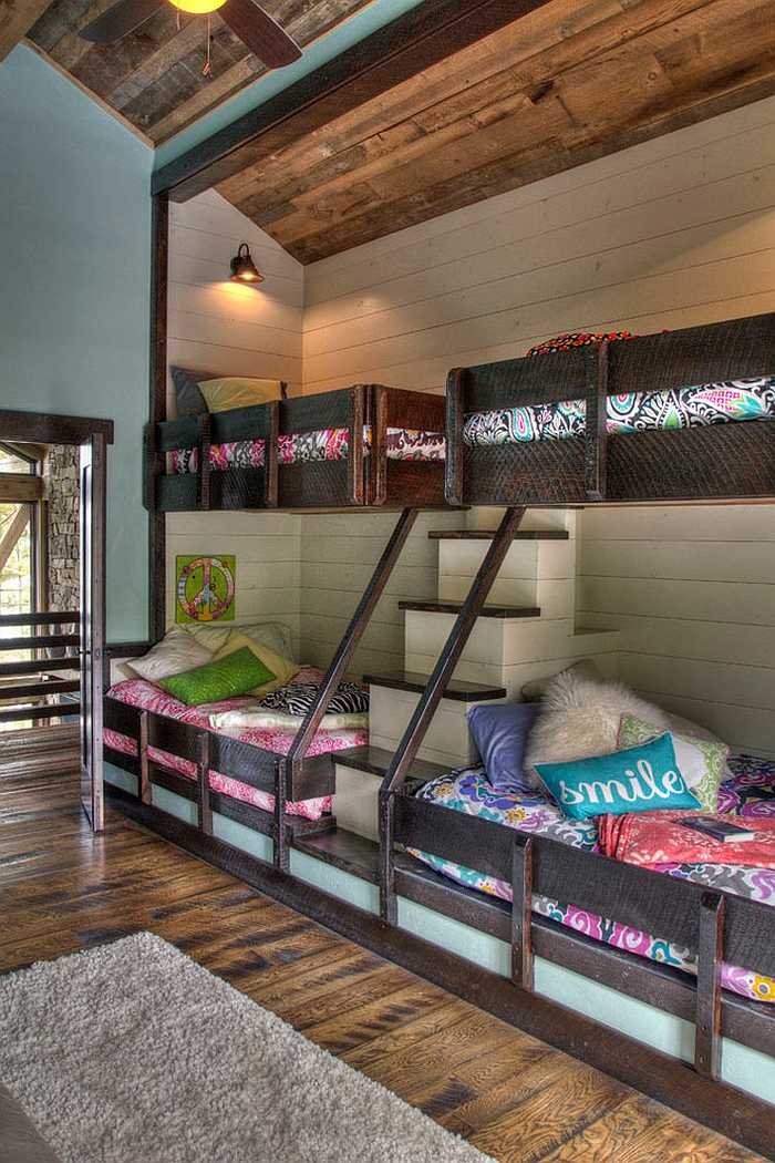 Cool rustic bedroom with bunk beds and steps [Design: Lands End Development - Designers & Builders]