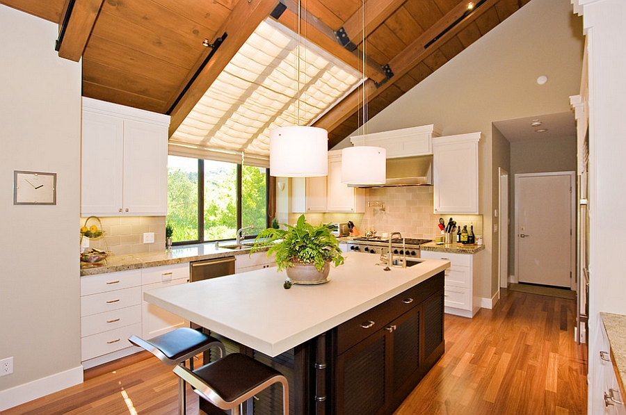 Cool skylight blinds give the room better insulation