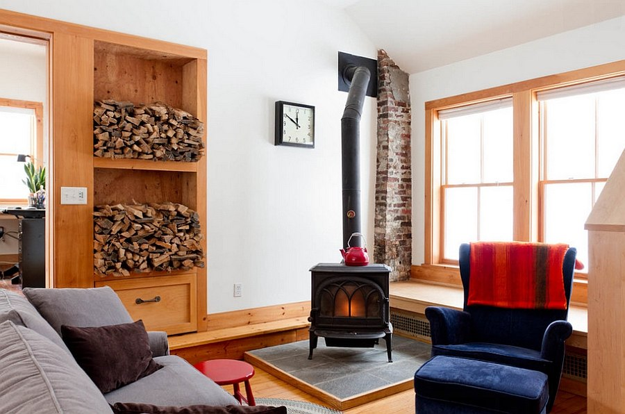 Cozy, eclectic living room with a fireplace at its heart