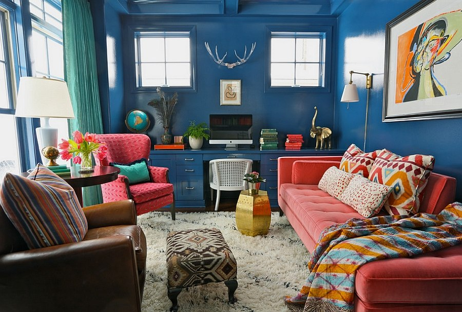 Cozy home office with bold use of colors and vintage pieces [Design: Summer Thornton Design]