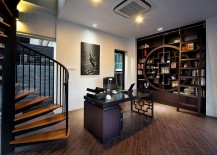 Creative home office combines modern aesthetics with Asian style