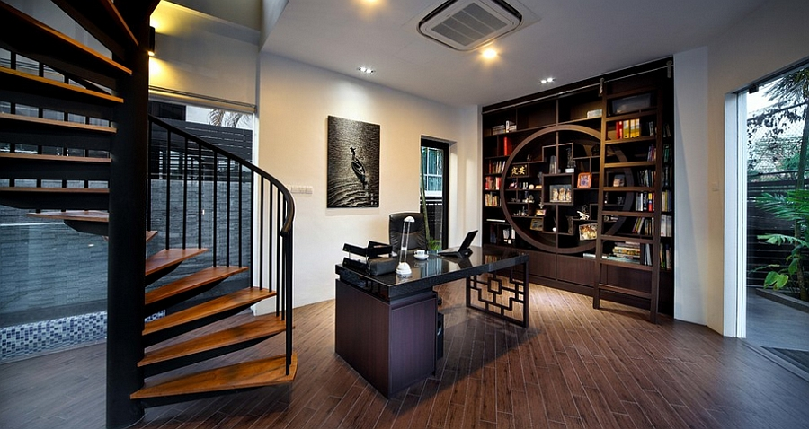View In Gallery Creative Home Office Combines Modern Aesthetics With Asian  Style [Design: The Interior Place]