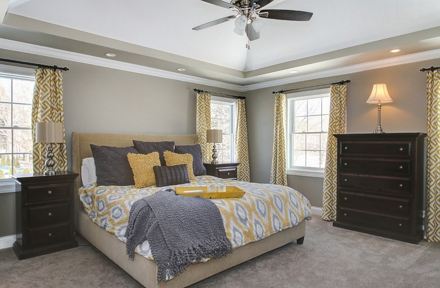 Curtains add geometric pattern to the bedroom [Design: Redstart Construction]
