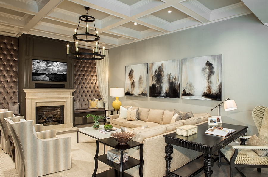 Cushioned walls flank the TV and fireplace in the living room [Design: Pineapple House Interior Design]
