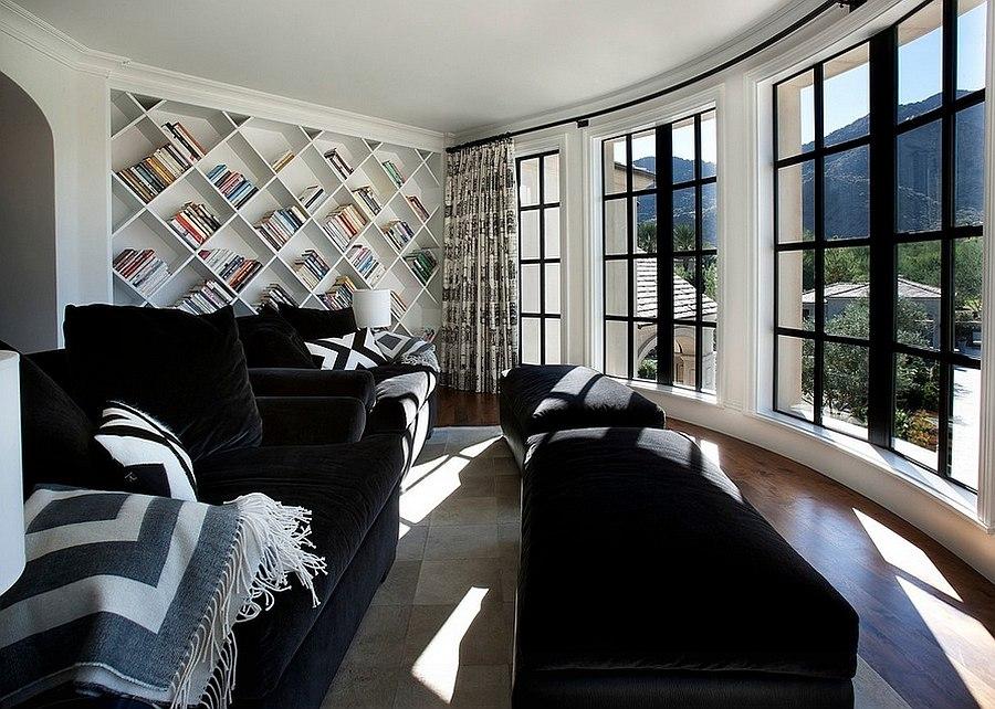 Custom bookshelf is a perfect addition for the living room [Design: Candelaria Design Associates]