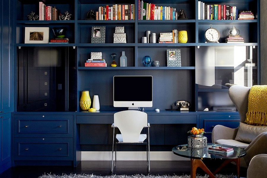 custom built in library wall for the modern home office design